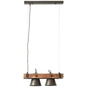 Pendel Leuchte Lampe Landhaus Retro DECCA 2-flammig braun schwarz Holz dimmbar