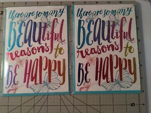 Papyrus Glittered So Many Reasons to Be Happy Butterflies Cards 2 ct blank insid