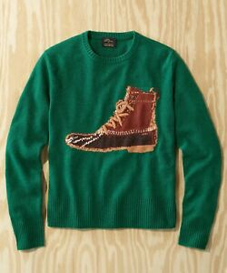 L.L.BEAN X TODD SNYDER Heritage Crewneck Duck Boot Sweater in Green