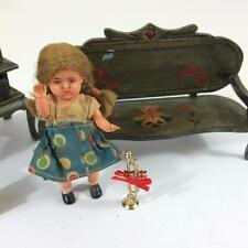 "Dollhouse Vtg Room Vignette 11 p Handpaint Hutch Bench German 4"" Doll Rug Toys"