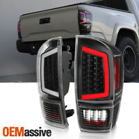 Fits 2016-2020 Toyota Tacoma Pickup Black Full LED Tube Tail Lights Set