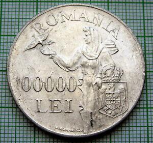 ROMANIA MIHAI I 1946 100000 LEI, LARGE SILVER UNC LUSTRE