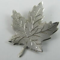 Maple Leaf Brooch Pin Sterling Silver Etched Textured Vintage Jewelry