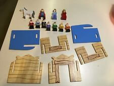 Wooden Snow White 7 Dwarves playset house prince queen horse toy