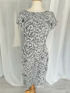 French Connection Pencil Silver Occasion Dress Gray Size 10 Animal Print