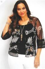 Maurices~New With Tags~Black floral mesh cardigan~ Plus Size 2-2X