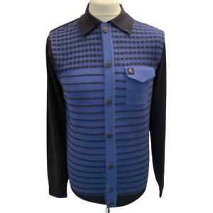 Gabicci Vintage Escape,V45GM10,Button Through Knitted Polo,Navy,Mod,Retro,SALE