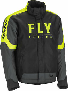 New Fly Racing Outpost snowmobile Cold Weather Jacket SM-3X Black/Grey/Hi-Viz