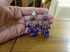 Brand new antique silver look drop earrings with purple ceramic beads and box