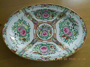 """1 VINTAGE CHINESE FAMILLE ROSE SERVING PLATTER / MEAT PLATE 14"""" x 10"""" VGC"""