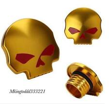 Gold Red Skull Gas Cap for Harley Sportster Dyna Softail Fuel Cap FXD FL XL FLT