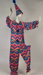 COLORFUL VINTAGE 1980'S HALLOWEEN CLOWN COSTUME W MATCHING HAT