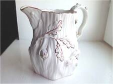 ANTIQUE JUG/PITCHER - HAND PAINTED RED ACORN/LEAF RELIEF PATTERN - ENGLAND 1861