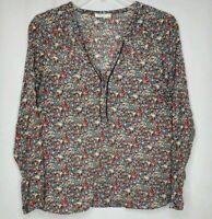 Meadow Rue Small Womens Floral Long Sleeve Quarter Button Lightweight Top Shirt