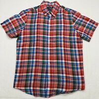 Chaps Button Up Shirt Adult Large Red Blue Green Short Sleeve Linen Casual Mens*