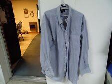 haggar men's size 18 blue stripe button front dress shirt