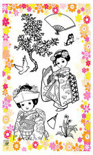Japanese geisha girls ~ clear stamps set vintage FLONZ 195 rubber acrylic