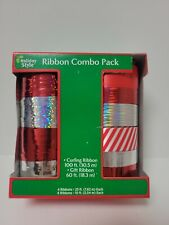 Curling Ribbon Combo Pack 160ft Christmas candy cane Holiday - Red & Silver