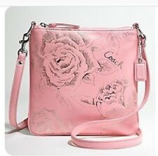 Coach Pink Rose Silver Embossed Crossbody Rare 43833