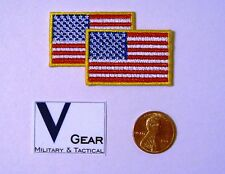 US USA American Flag Patch SMALL 1 x 1 1/2 GOLD Border **LOT of 2**