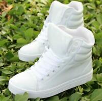 Women's round toe patent leather  lace up fashion sneakers faux  high top shoes