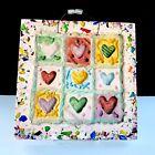 Studio Art Paper & Stone Cast Paper Sculpture Hearts Glass Collage 2005 C89