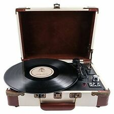 GPO Ambassador Turntable Cream and Tan 3 Speed Retro Portable Record Player BNWB