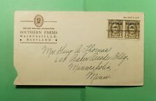 DR WHO WALKERSVILLE MD PRECANCEL PAIR ADVERTISING SOUTHERN FARMS  f51541