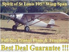 "Spirit of St Louis 105"" WS Giant 1/4 Scale RC Airplane PRINTED Plans & Templates"