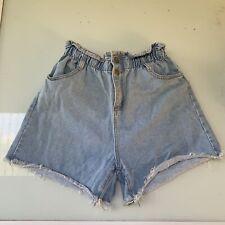 Ava Women's Elastic Waist Ruched High Waist Blue Denim Shorts Sz Medium