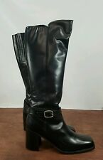New Womens Pazzo Leather Knee High Heel Buckle Boot - 8