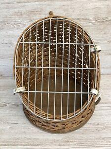 "Pet Carrier / Basket - Cat/Rabbit/Small Dog - 20"" x 16"" -Wicker - Vintage"