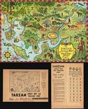 1933 Weston's Biscuits Fantasy Spiel Map Of Tarzan's Dschungel