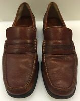 a. testoni Penny Loafer Moc Toe Brown Grain Leather Made in Italy Men 8 US 7 UK