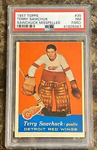 1957 Topps #35 Terry Sawchuk PSA 7 (MC)