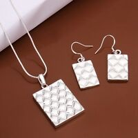 Bullion Bar Pendant Necklace and Earrings Set 925 Sterling Silver NEW