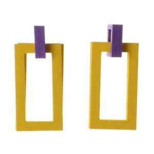 Yellow Purple Geometric EARRINGS  Wood Rectangle Drop. Colour 2019,  Influencer