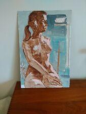 Medium size Mid Century Modern Art acrylic on artboard  Painting  Nude Woman 60s