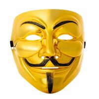 10 Gold Guy Fawkes Anonymous Face Masks Hacker V For Vendetta Halloween Dress UK