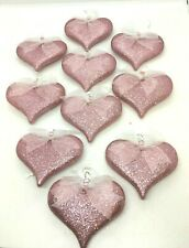 Valentines Day Pink Glitter Hearts Valentine Ornaments Decorations Set of 10 NEW