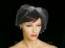 "Handmade Ivory 9"" Bridal Pearls Edge Wedding Birdcage Blusher Veil"