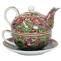 William Morris Red Strawberry Thief Tea for One Teapot Set Cup & Saucer Birds