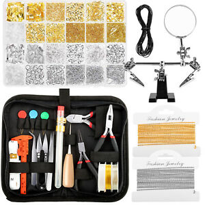 Jewelry Making Supplies Kit with Earring Charm Wires Repair and Beading