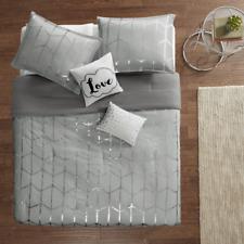 New! ~ Cozy Chic Grey Silver Metallic Geometric Stripe Love Girls Comforter Set