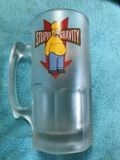 Simpsons Homer Simpson Stupid Gravity Frosted Glass Beer Mug Stein 2002