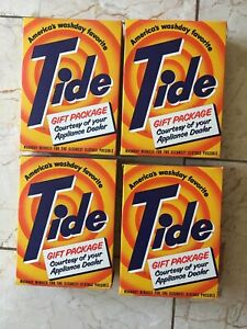 Vtg 4 Tide Soap Box Lot Appliance Dealer Sample Laundry Detergent 7.5 oz Dented