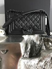 NWT CHANEL 2017 SO BLACK Boy Bag IRIDESCENT Caviar Lamb Lambskin SMALL 17S NEW