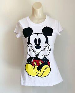 Disney Mickey Mouse Girl's White Cotton T-Shirt - Size Medium
