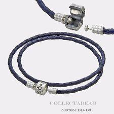 "Authentic Pandora Silver Double Blue Braided Leather 15"" Bracelet 590705CDB-D2"