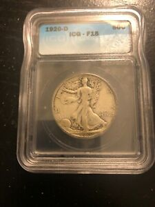 1920 D50C Walking Liberty Half Dollar F15 ICG